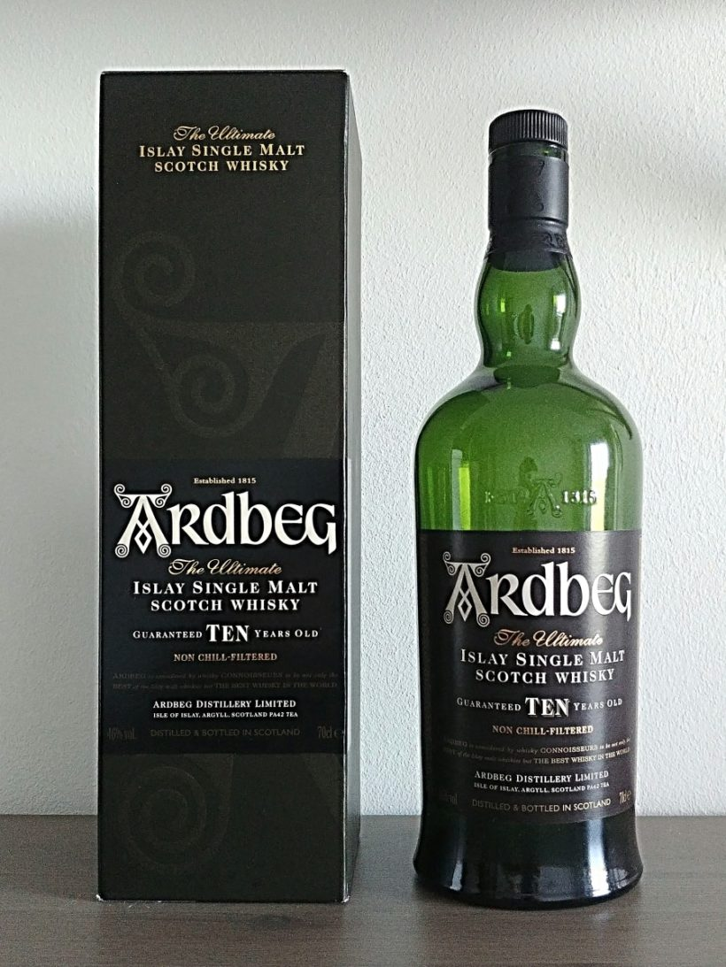 Ardbeg 10 years old butelka i karton