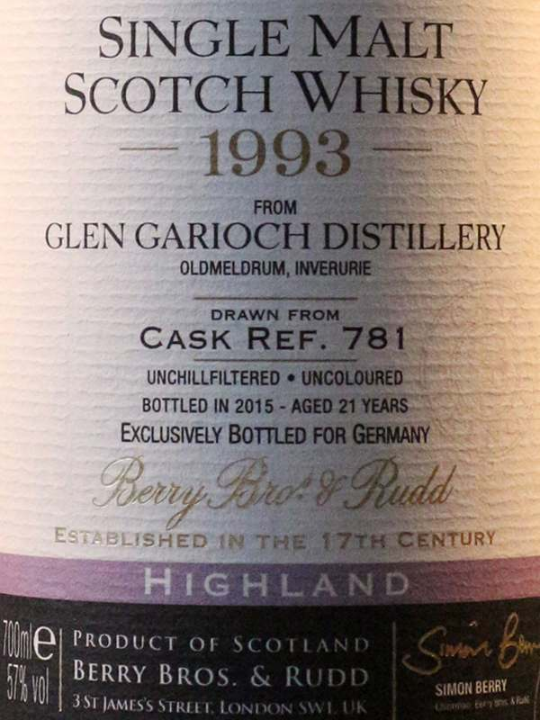 Glen Garioch 1993 Berrys' label