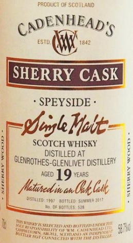 Glenrothes 1997 CA label