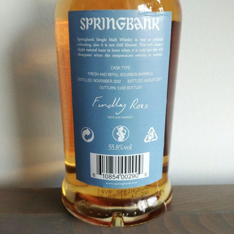 Etykieta springbank 2002 rodzaj beczki
