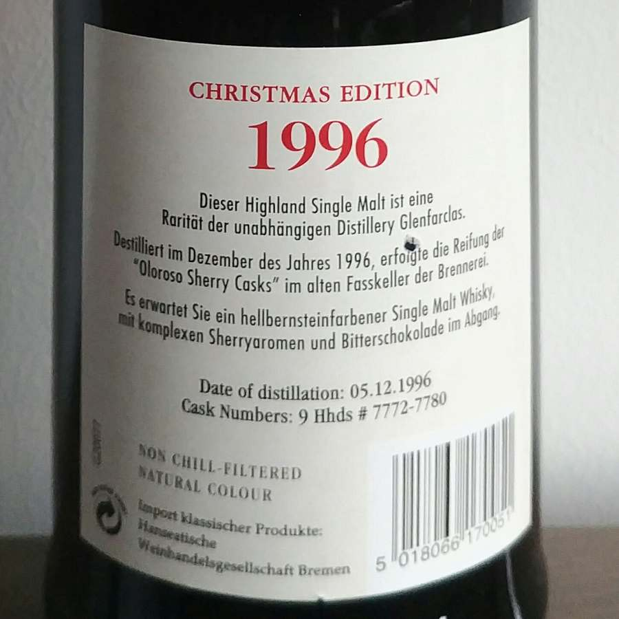 Glenfarclas 1996 back label