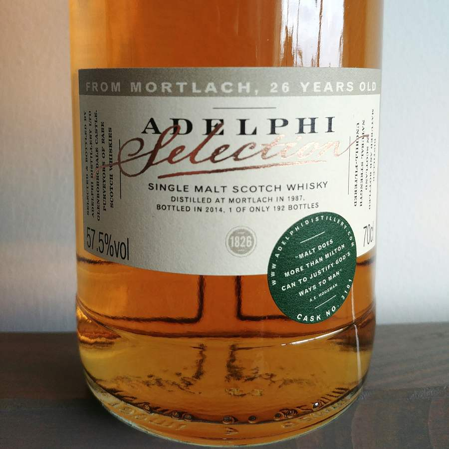 Test whisky Adelphi Mortlach 1987 - etykieta