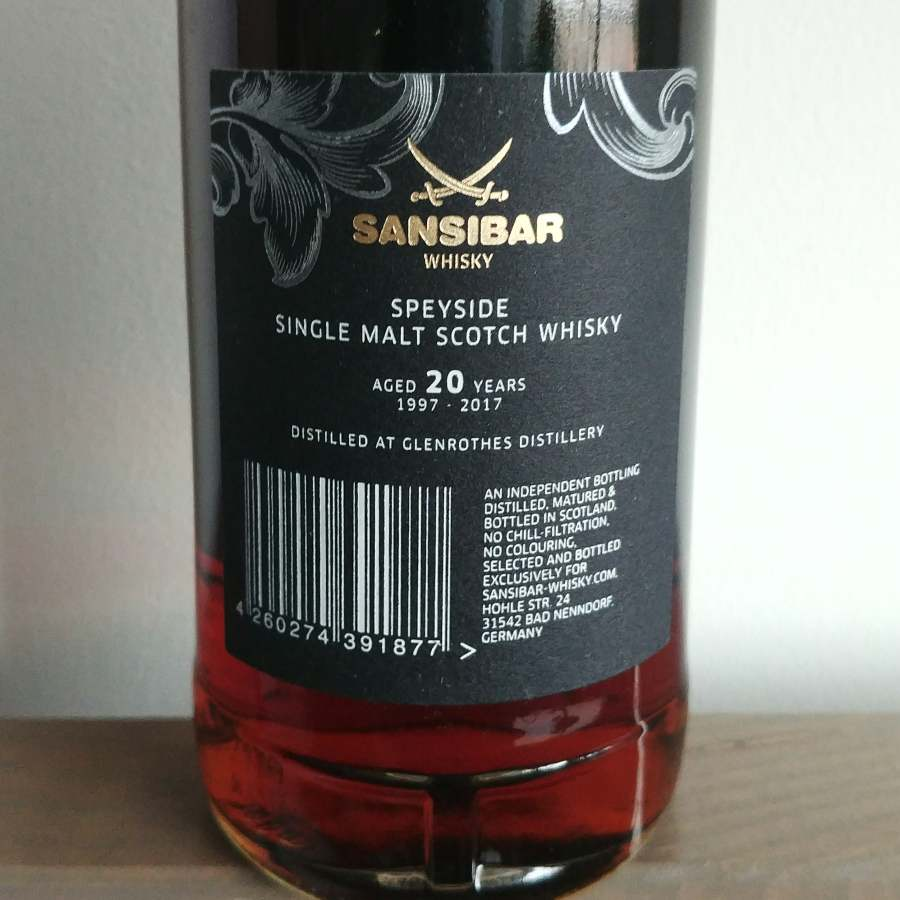 Glenrothes 1997 Sansibar label