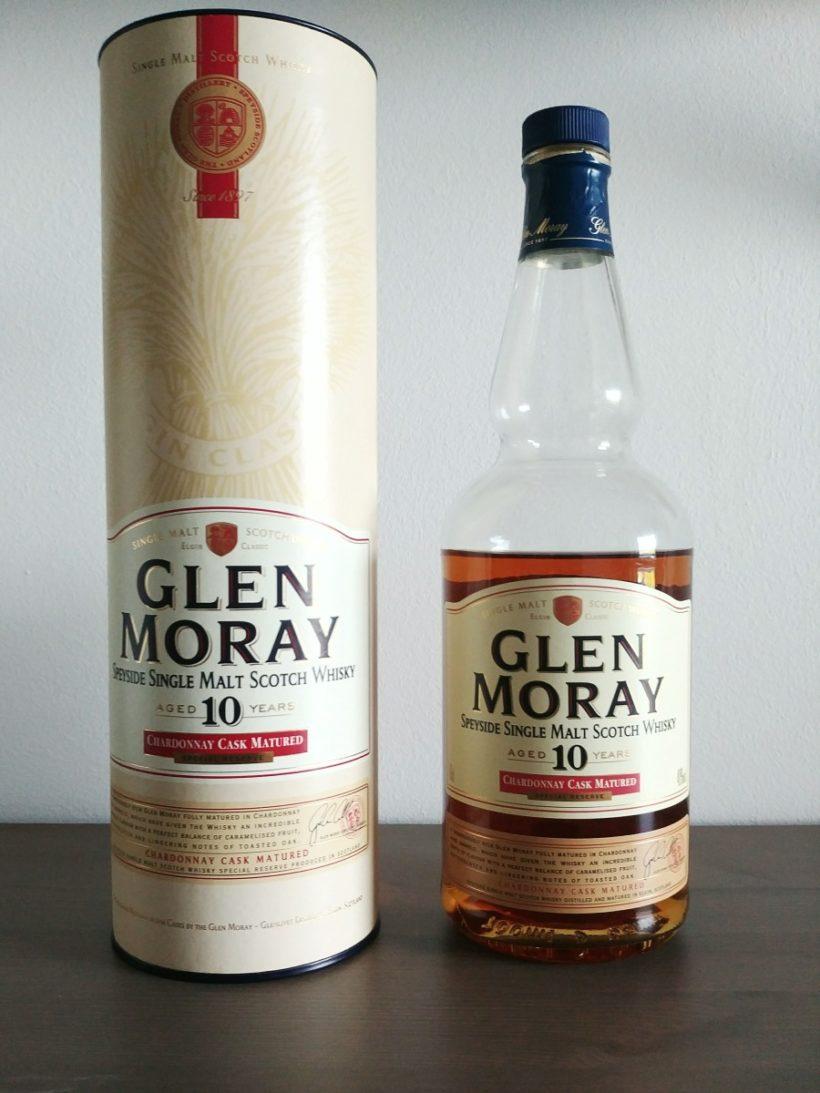 Glen Moray 10 Chardonnay Matured - butelka i tuba